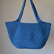 Классическая сумка ручной работы. Ярмарка Мастеров - ручная работа Синяя сумка из джута на подкладке с молнией. Handmade.