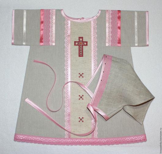 `Малиновый звон` - крестильное платье, косынка. Хлопок, лён. Январь 2015.