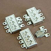 Accessories4 handmade. Livemaster - original item Lock for jewelry 3-strands, 18,5 x 18 mm color silver. Handmade.