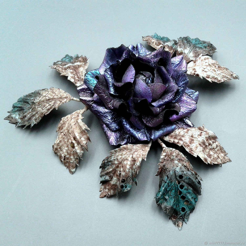 Brooch made of genuine leather SANDRA, Brooch-clip, Stavropol,  Фото №1