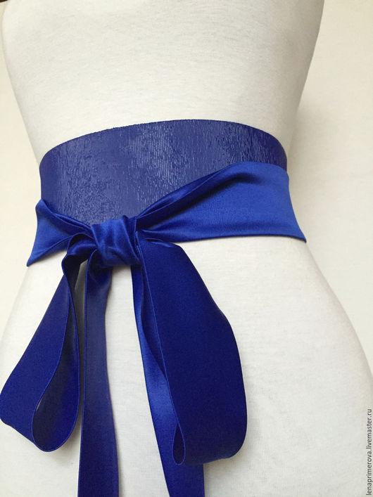 Пояса, ремни ручной работы. Ярмарка Мастеров - ручная работа. Купить пояс-резинка Ярко-синий комбинированный, и др цветов шелково-резиновый. Handmade.