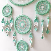 Для дома и интерьера handmade. Livemaster - original item Large mint dream catcher with crocheted feathers. Handmade.