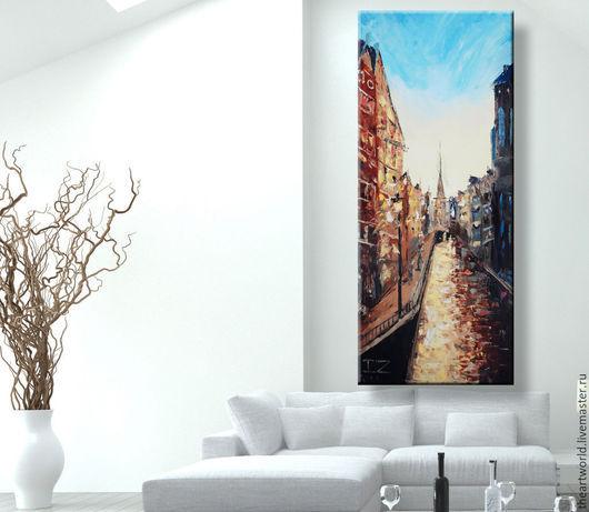 """Город ручной работы. Ярмарка Мастеров - ручная работа. Купить Картина авторская масло холст """"Амстердам"""" 90х40 картина маслом. Handmade."""