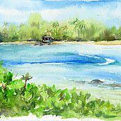 """Картины и панно ручной работы. Ярмарка Мастеров - ручная работа Акварель """"Тропический рай"""". Handmade."""