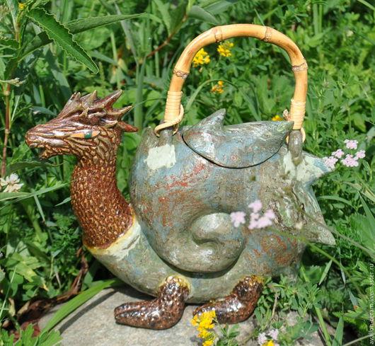 """Чайники, кофейники ручной работы. Ярмарка Мастеров - ручная работа. Купить Чайник """"Драконо-улитка"""". Handmade. Комбинированный, чайник в подарок"""