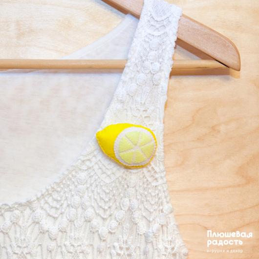 """Броши ручной работы. Ярмарка Мастеров - ручная работа. Купить Брошь из фетра """"Лимон"""". Handmade. Желтый, брошь ручной работы"""