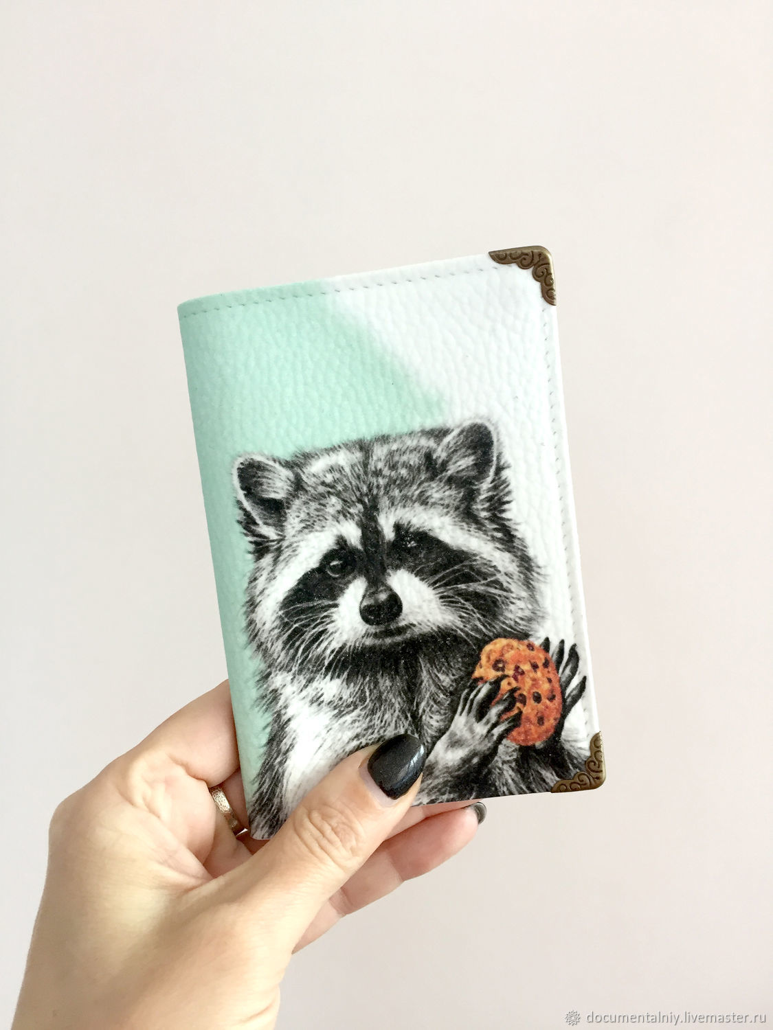 Passport cover, cover (leather) 'Raccoon', Passport cover, Obninsk,  Фото №1