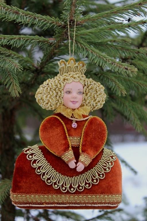 """Новый год 2017 ручной работы. Ярмарка Мастеров - ручная работа. Купить Новогодняя игрушка """"Королева"""". Handmade. Рыжий, золотой цвет"""