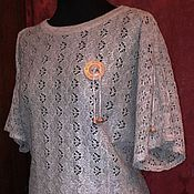 Одежда handmade. Livemaster - original item 100% linen Cardigan with Dolman sleeve openwork DAISY. Handmade.