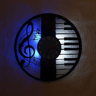 For home and interior handmade. Livemaster - original item Wall clock with LED light from the album piano and Key. Handmade.