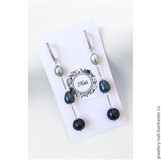 """Серьги ручной работы. Ярмарка Мастеров - ручная работа. Купить Серьги """"Blue pearl"""" (жемчуг). Handmade. Комбинированный, серьги"""
