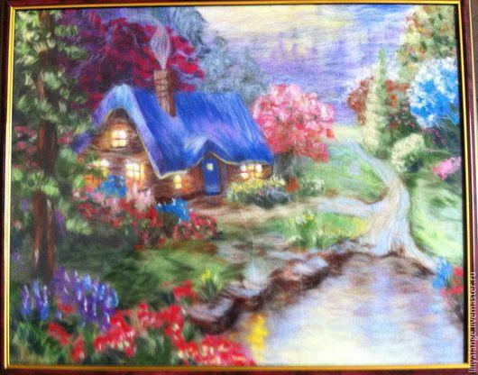 """Пейзаж ручной работы. Ярмарка Мастеров - ручная работа. Купить картина из шерсти """"домик у озера"""". Handmade. Разноцветный, пейзаж, озеро"""