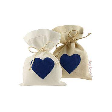 Свадебный салон ручной работы. Ярмарка Мастеров - ручная работа 10х15см. 10шт. Мешочки льняные с синим сердцем. Handmade.
