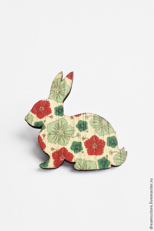 Броши ручной работы. Ярмарка Мастеров - ручная работа. Купить Брошь заяц. Handmade. Разноцветный, украшение, краска