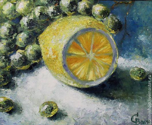 """Натюрморт ручной работы. Ярмарка Мастеров - ручная работа. Купить Картина маслом в раме """"Лимон и виноград"""" (серия картин на кухню). Handmade."""