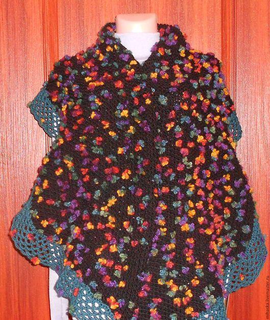 Шарфы и шарфики ручной работы. Ярмарка Мастеров - ручная работа. Купить Шарф вязаный с цветочками. Handmade. Комбинированный, теплая одежда