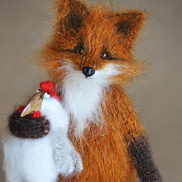 Куклы и игрушки ручной работы. Ярмарка Мастеров - ручная работа ДРУЖИТЬ БУДЕМ?! Лиса и петух. Handmade.