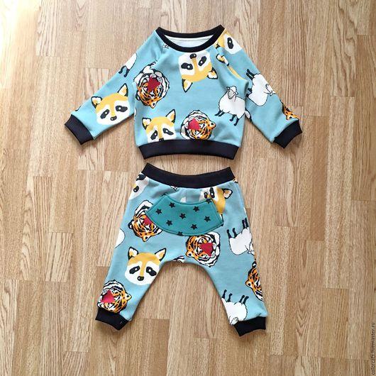 """Одежда унисекс ручной работы. Ярмарка Мастеров - ручная работа. Купить Комплект детский свитшот + штанишки """"Лисы и тигры"""". Handmade."""
