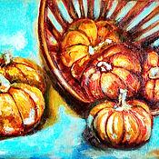 Картины и панно handmade. Livemaster - original item Oil painting still life with pumpkins in a basket on a blue background. Handmade.