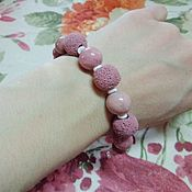Украшения handmade. Livemaster - original item Bracelet made of natural rhodonite, lava, shell and 925 silver. Handmade.