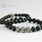 Украшения handmade. Livemaster - original item Onyx men`s bracelet made of natural onyx and 925 silver. Handmade.
