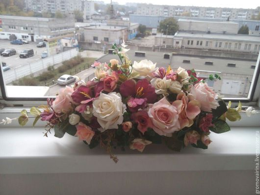 """Интерьерные композиции ручной работы. Ярмарка Мастеров - ручная работа. Купить """"Винтажные розочки"""". Handmade. Розовый, цветы"""