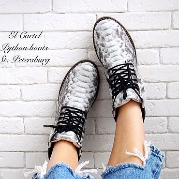 Обувь ручной работы. Ярмарка Мастеров - ручная работа Ботинки из кожи питона. Handmade.