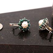 Earrings handmade. Livemaster - original item Earrings in sterling silver with malachite and pearls. Handmade.