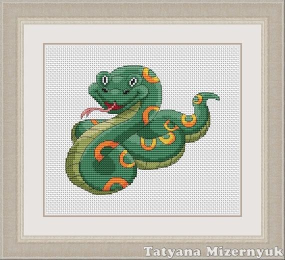 """Вышивка ручной работы. Ярмарка Мастеров - ручная работа. Купить Схема для вышивки крестиком """"Змейка"""". Handmade. Вышивка крестом, вышивка"""