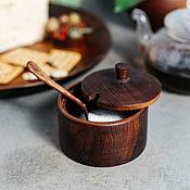 Посуда handmade. Livemaster - original item Sugar bowl with Siberian Cedar spoon for honey, salt, spices #K55. Handmade.