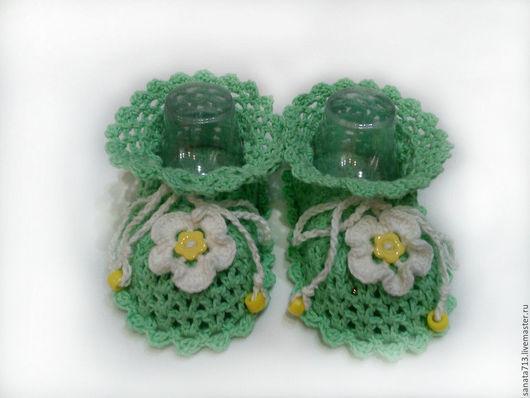 Пинетки, пинетки вязаные, пинетки ажурные, зеленый, пинетки из хлопка, пинетки для девочки, пинетки для новорожденных, пинетки для малыша, детские пинетки