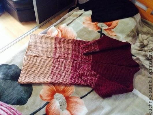 Кофты и свитера ручной работы. Ярмарка Мастеров - ручная работа. Купить Кардиган-пальто. Handmade. В полоску, бордовый
