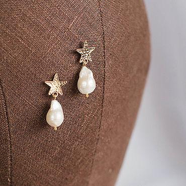 Свадебный салон ручной работы. Ярмарка Мастеров - ручная работа Серьги с барочным жемчугом и звездами, серьги для невесты. Handmade.