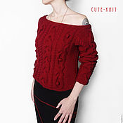 Одежда handmade. Livemaster - original item Knitted jumper female red. Handmade.