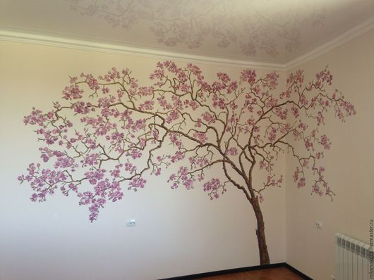 сакура роспись на стене