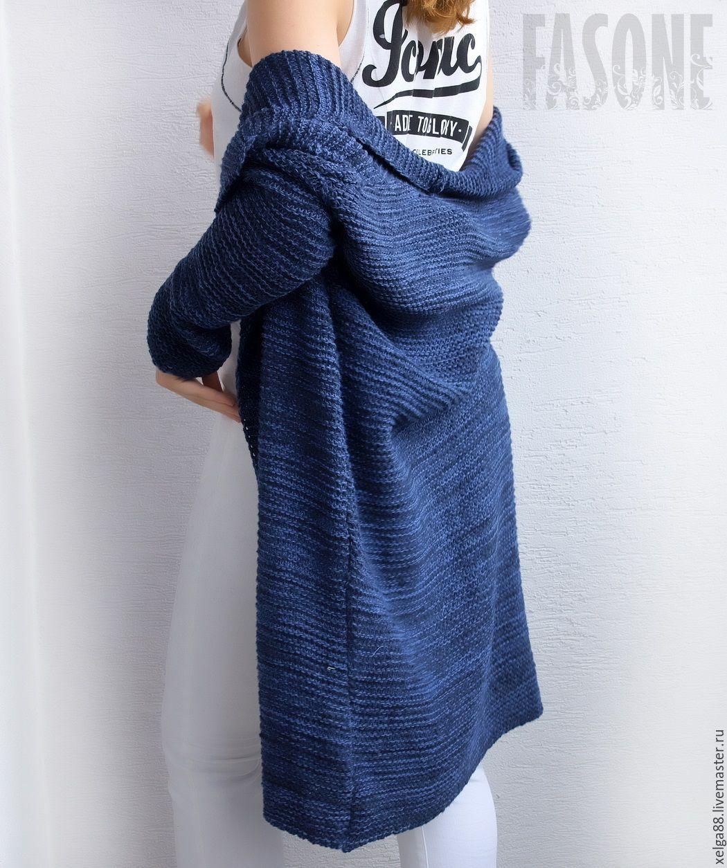 Женский кардиган синий оверсайз Синий хлопковый кардиган, Кардиганы, Москва,  Фото №1