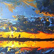 Картины ручной работы. Ярмарка Мастеров - ручная работа Интерьерная картина в раме Закат. Handmade.