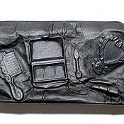 """Сумки и аксессуары ручной работы. Ярмарка Мастеров - ручная работа 3D Клатч-косметичка """"Макияж"""" из натуральной кожи чёрного цвета. Handmade."""