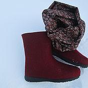"""Обувь ручной работы. Ярмарка Мастеров - ручная работа Валенки и шарф-снуд """"Огонь"""" бордовый. Handmade."""