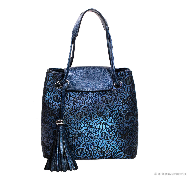 Женские сумки из натуральной кожи синие