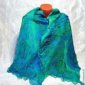 """Аксессуары ручной работы. Ярмарка Мастеров - ручная работа валяный шарф-палантин """"Зеленый океан"""". Handmade."""