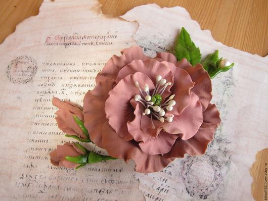 """Броши ручной работы. Ярмарка Мастеров - ручная работа. Купить Брошь """"Эустома """"пепел розы"""" с натуральным жемчугом роза. Handmade."""