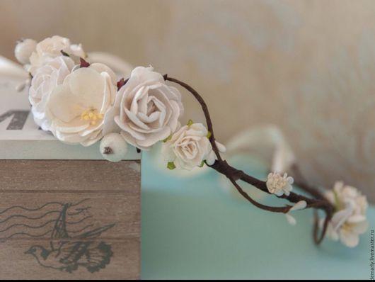 Свадебные украшения ручной работы. Ярмарка Мастеров - ручная работа. Купить Веночек из цветов. Handmade. Белый, венок на голову