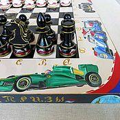 "Куклы и игрушки handmade. Livemaster - original item Шахматы из дерева ""Автоспорт"", ручная роспись. Handmade."