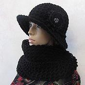 Аксессуары handmade. Livemaster - original item Set - hat and scarf in black, half-wool.. Handmade.