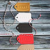 Материалы для творчества ручной работы. Ярмарка Мастеров - ручная работа Бирка thanks с тиснением. Handmade.