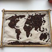 Картины и панно ручной работы. Ярмарка Мастеров - ручная работа Панно из кофейных зёрен. Handmade.