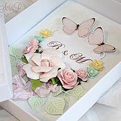 Свадебный салон ручной работы. Ярмарка Мастеров - ручная работа Свадебный комплект: открытка в коробочке. Handmade.