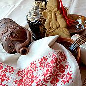 Для дома и интерьера handmade. Livemaster - original item Towel with embroidery red pattern gray linen with hemstitch. Handmade.
