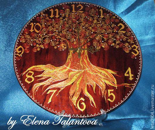 """Часы для дома ручной работы. Ярмарка Мастеров - ручная работа. Купить Часы """"Древо Жизни"""". Handmade. Золотой, часы настенные"""